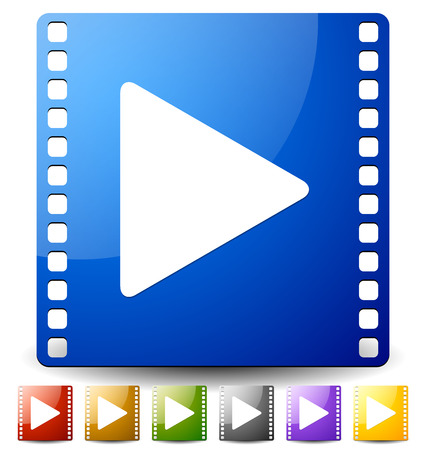 filmroll: Vector illustration of a play button on film strip in several colors. Icon for multimedia, film production concept.