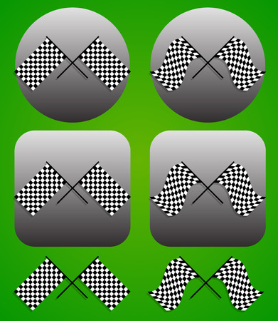 Vector illustration of crossed racing flag icon set Vector