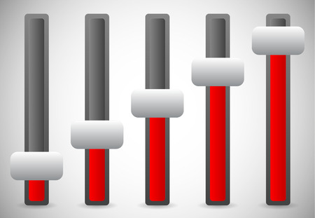 Vector illustration of vertical sliders, adjusters or faders, levers. Elements for user intefaces, UI, GUI designs. Vector