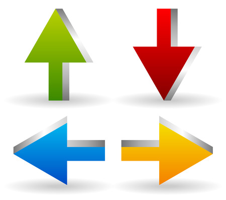 all right: Vector Illustration of Bright 3d Arrows, Arrow Icons Pointing Up, Down, Left and Right (Green, red, blue and yellow, orange in colors).