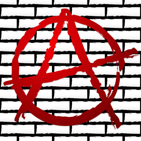 anarchism: Vector illustration of an anarchy sign on repeatable (seamless) brick wall texture.