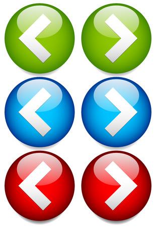 Ilustración vectorial de botones a izquierda y derecha con afilados, puntas de flecha angular. Siguiente, Anterior, o hacia atrás, adelante Botones / Iconos con sencillos símbolos de flecha. Brillante, satinado Diseño Elementos en verde, azul y rojo. Ilustración de vector