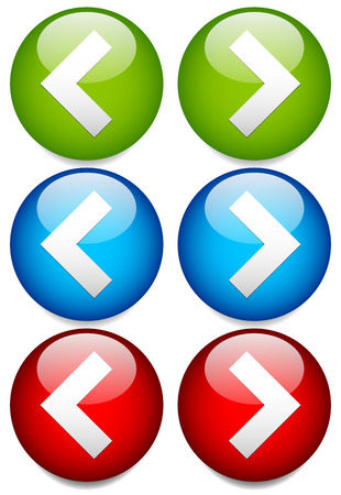 Vector Illustration of Buttons to Left and Right with Sharp, Angular Arrowheads. Next, Previous, or Backward, Forward Buttons / Icons with Simple Arrow Symbols. Bright, Glossy Design Elements in Green, Blue and Red colors. Vector Illustration