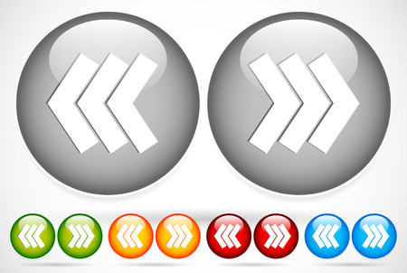 arow: Vector Illustration of Triple arrow icons pointing left and right in grey, green, yellow, red and blue.
