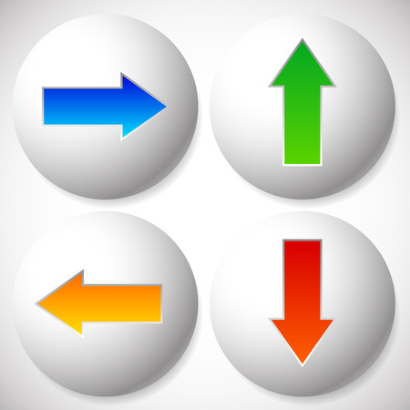 arow: Vector illustration of colorful arrow icons pointing to 4 directions. Up, down, left, right arrows.