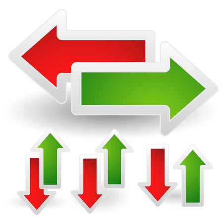 arow: Vector Illustration of Horizontal and Vertical Arrows in Red and Green. Left, right and Up, down arrows set.