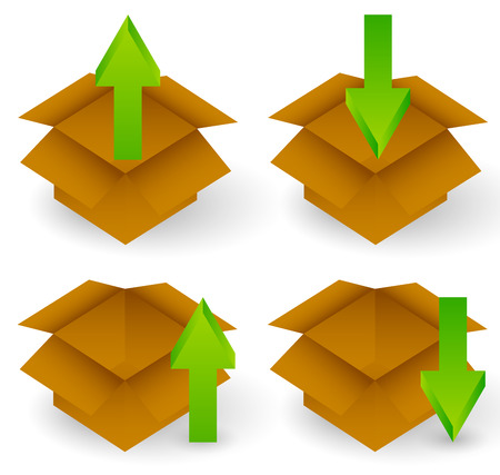 Vector illustration of open boxes with arrows. Download, upload, packing, unpacking concepts
