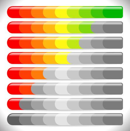 increments: Vector illustration of Horizontal bars. Loading bars, progress indicators.  Illustration