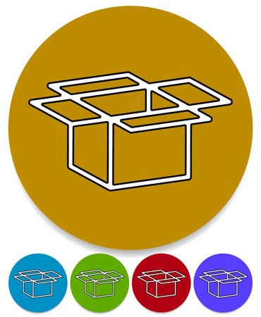 Open box icons for packaging, logistics or shipment concepts. Cardboard, paperboard boxes. Vector. Illustration