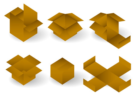 paper folding: Vector illustration of carton Boxes set. In different positions. (Logistics, delivery, industrial paper folding concepts) Illustration