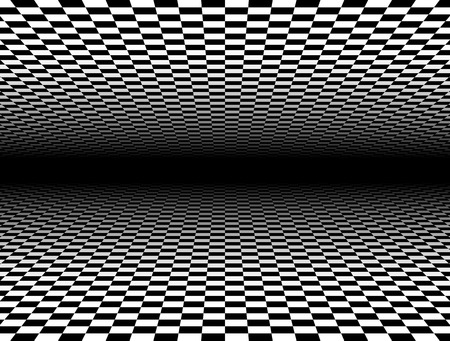 surrealistic: Fading checkered planes on black in perspective. Transparency made with opacity mask. Illustration
