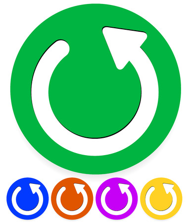 retry: Vector illustration of a circular or circle arrow icon in 5 colors. Illustration