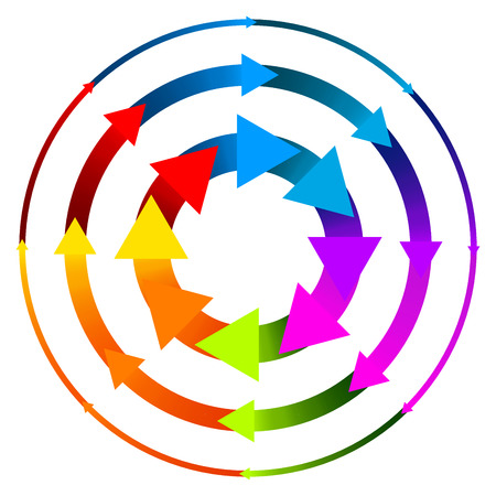 schema: Vector Illustration of a Set of Arrows in Circle or Circular arrows for Repetition, Cycle, Repeating Schema, Flowchart Graphics. Colorful Design with Thicker and Thiner versions.