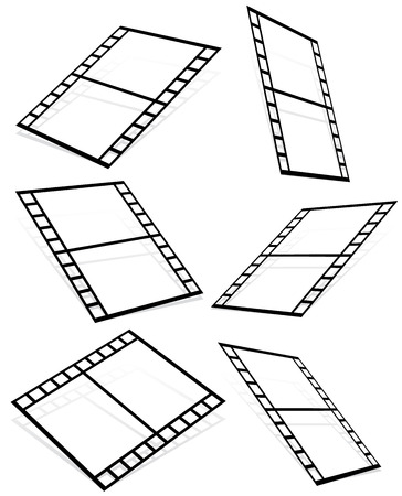perpective: Vector illustration of Film strips on white