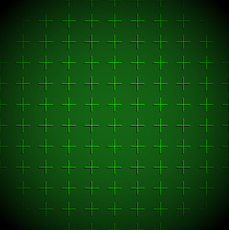 Vector illustration of green grid background with mesh of crosses. Green militaristic background or Empty radar screen.