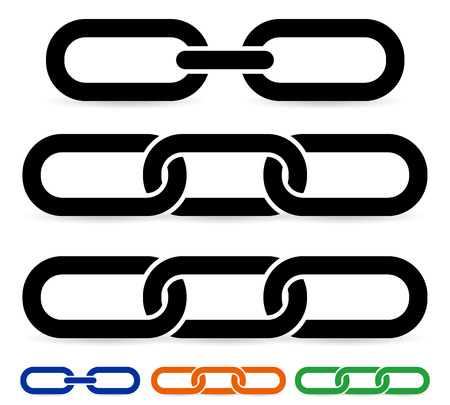 Vector illustration of chain link shapes with different geometry.