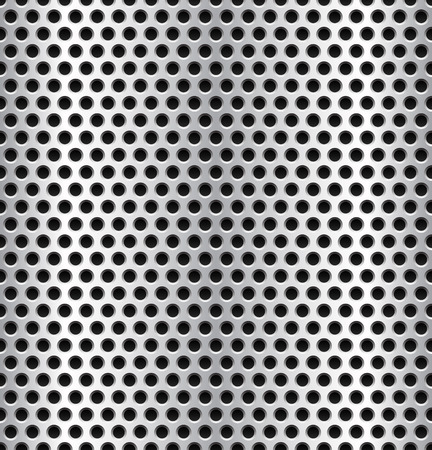 Vector illustration of punched, dimped metal surface background or pattern. Seamlessly repeatable. Illustration