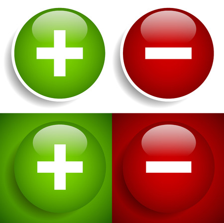 Vector illustration of a Plus, minus sign icon and background set - Add, remove, raise, lower, increase, decrease and positive, negative concepts. Bright, glossy