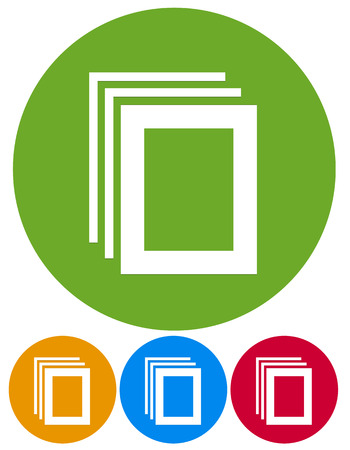 paper stack: Vector illustration of icons with paper stack or paper pile, photo frame symbols.