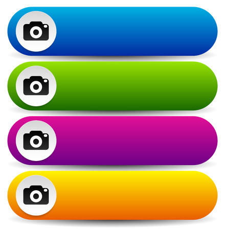 finder: Vector illustration of Colorful buttons with photo camera symbols