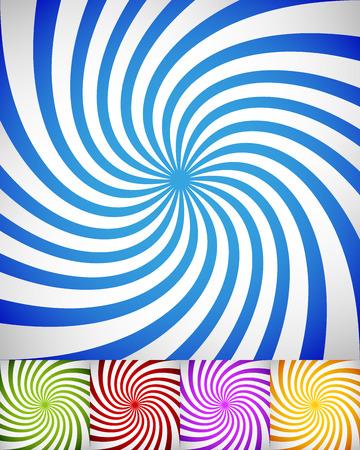 spiraling: Vector illustration of Set of twisted ray backgrounds. Spirals, burst background set. In 5 vibrant colors Illustration