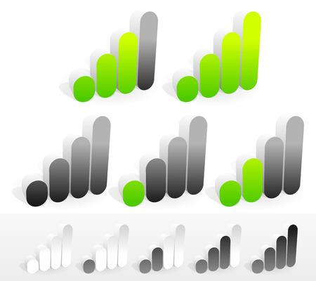 Vector illustration of a set of 3d signal strenght or generic progress indicators. Eps 10.