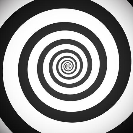 Vector illustration d'un fond spirale hypnotique niveaux de gris. Eps 10. Vecteurs