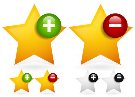 Vector illustration of Stars with plus and minus signs - Vote up, vote down icons. Like, dislike or add to, remove from favorite