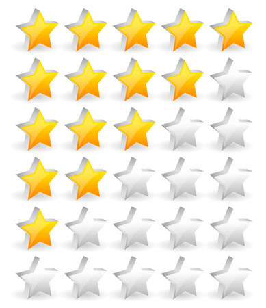 classification: Eps 10 vector illustration of Yellow star rating system with rotated stars in perspective. Classification, satisfaction, system feedback concepts.