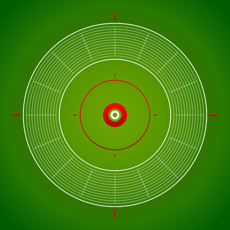 increments: Illustration of a target mark, crosshair with eps 10 shading over green backdrop. Eps 10 version Illustration
