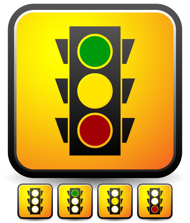 trafic: vector illustration of Traffic lamp  Traffic light icon set.