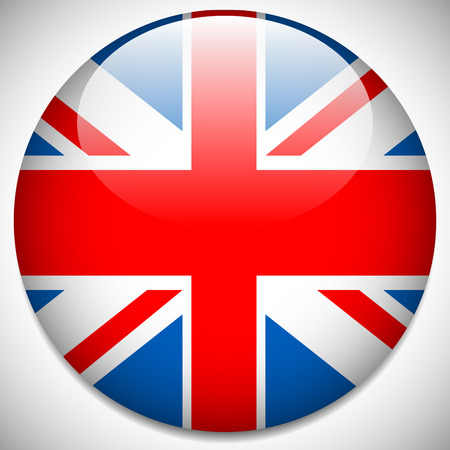 Vector illustration of a United Kingdom, UK Flag Badge - UK flag vector icon Çizim