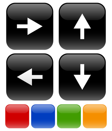 all right: Vector Illustration of Icons with Arrow symbols on rounded squares pointing to right, up, left, and down in 5 colors, black, red, blue, green and yellow