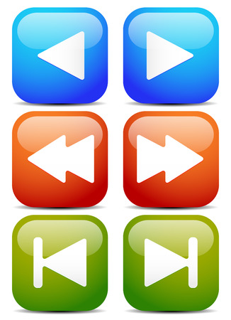 back and forth: Vector Illustration of Arrows to left and right. Play, fast forward-backward, first-last buttons  icons. UI elements for multimedia