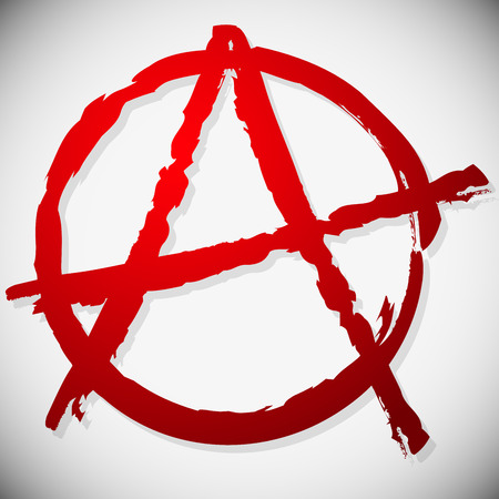 anarchism: Vector illustration of a grungy anarchy sign  Textured symbol of Anarchy. Painted look