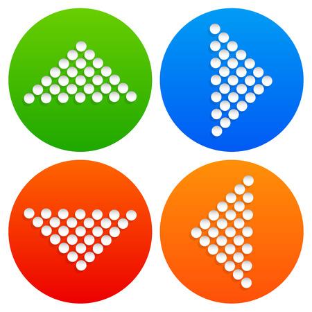 arrowheads: Vector illustration of dotted arrows, arrowheads. Eps 10 vector.