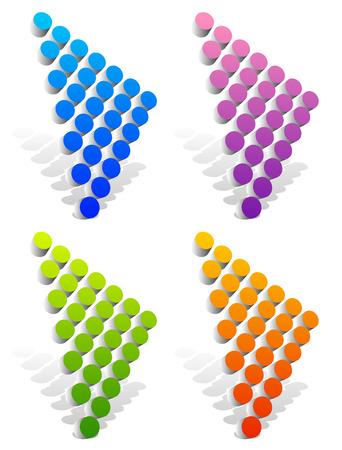 arrowheads: Vector illustration of dotted arrows, arrowheads