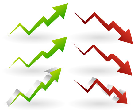 Vector illustration of rising and falling arrows. Increase, decrease. Price  investment concepts Ilustrace