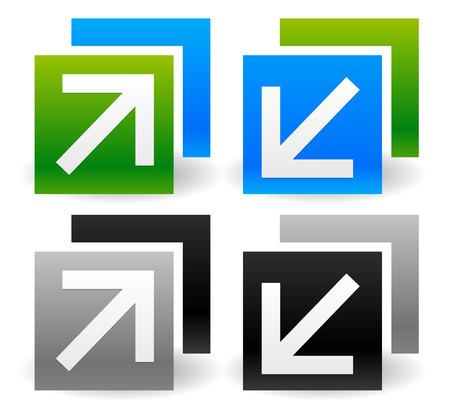 decreasing in size: Illustrazioni vettoriali di ridimensionare le icone con le frecce. Vettoriali