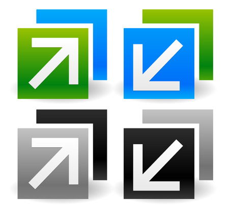 Vector Illustration of Resize Icons with Arrows.