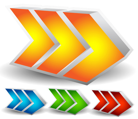 arrowheads: Vector Illustration of Bold or Big Arrows, Arrowheads Pointing Right in Yellow (Orange), Blue, Green and Red