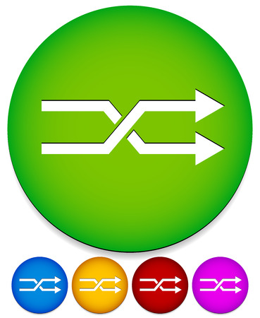 substitution: Vector illustration of twisted, angular arrows. Use it as symbol or an icon. In different colors. For change, exchange, switch, swap, or intersection, crossing concepts. Green version with background.