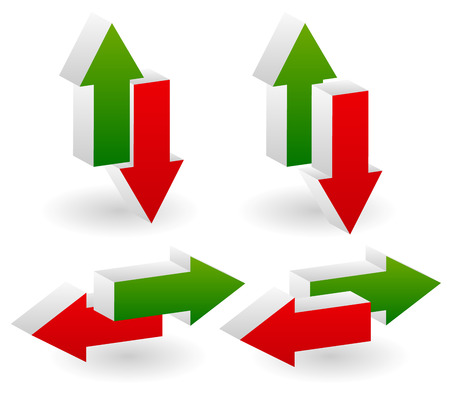 deficit: Vector illustration of Pairs of green and red arrows. Up-down, left-right versions. 4 composition all together. Profit, deficit and leftward, rightward, align, alignment, opposite directions concepts.   Illustration
