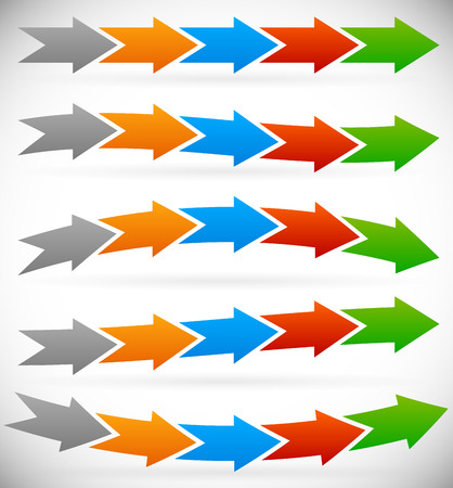 Vector illustration of arrows as progress indicators or info graphics elements with different distortions. Straight, wavy,  and bending, horizontal arrows. Vector