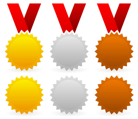 Vector illustration of gold, silver and bronze badges with red ribbons Vector Illustration