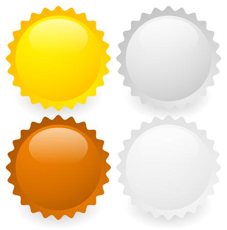 platina: Vector illustratie van goud, zilver, brons en platina badges of medailles Stock Illustratie