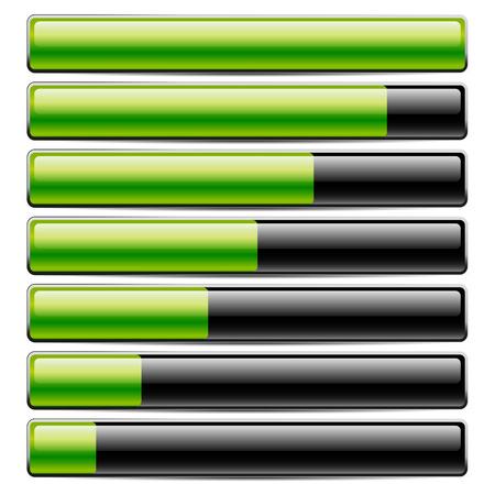 Vector illustration of Horizontal bars. Loading bars, progress indicators. Completion concept