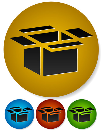 Open box icons for packaging, logistics or shipment concepts. Cardboard, paperboard boxes. Vector. Vector