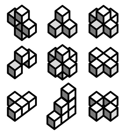 formation: vector illustration of 3d Geometric shapes, 3d Impossible objects, cubes in different formation. Illustration