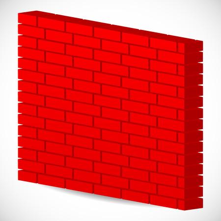bricklaying: Vector illustration of 3d red brick wall. Firewall Illustration